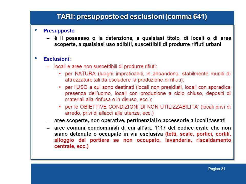 TARI: presupposto ed esclusioni (comma 641)