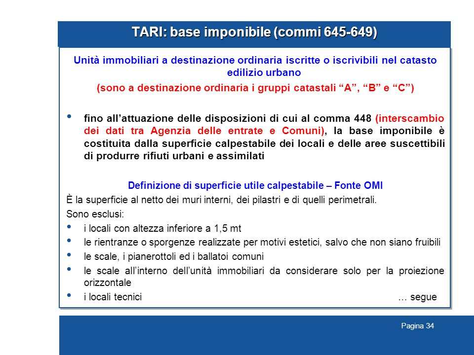 TARI: base imponibile (commi 645-649)