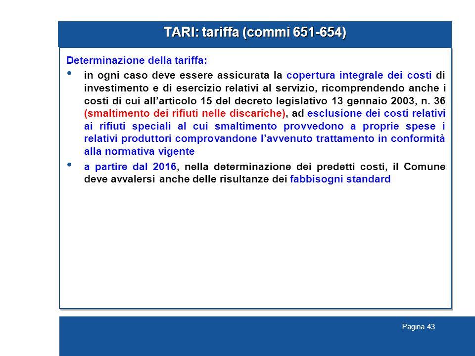 TARI: tariffa (commi 651-654)