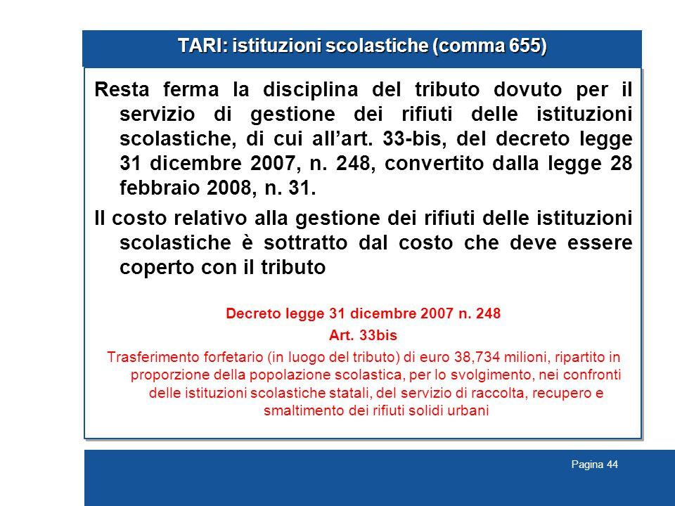 TARI: istituzioni scolastiche (comma 655)