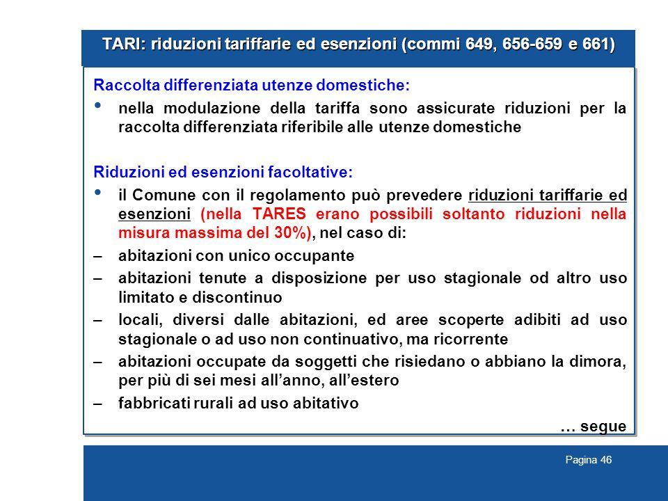 TARI: riduzioni tariffarie ed esenzioni (commi 649, 656-659 e 661)