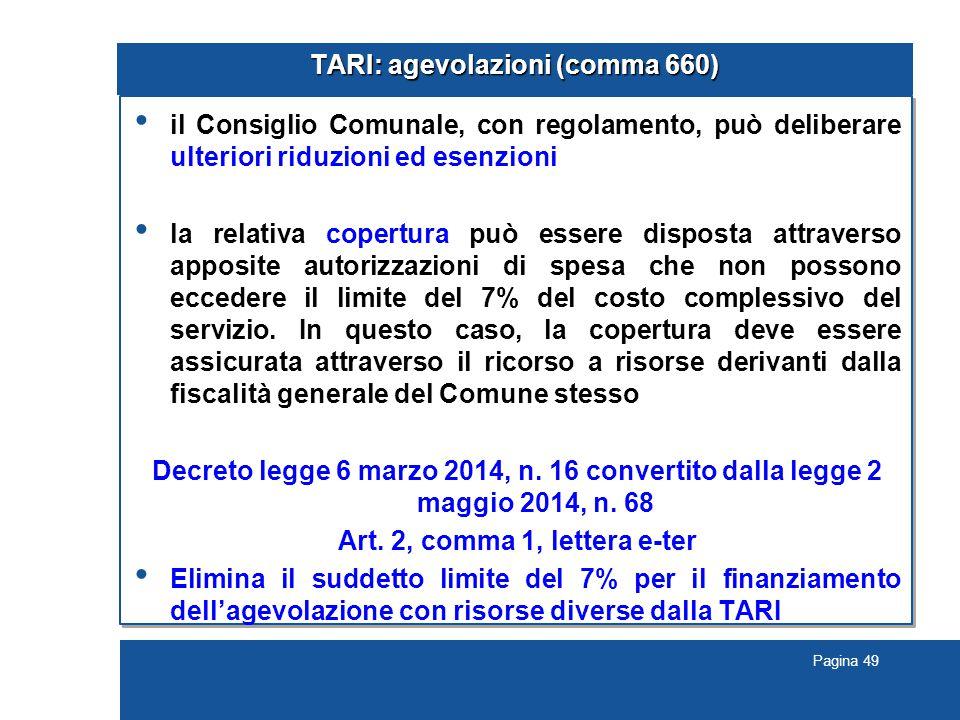 TARI: agevolazioni (comma 660)