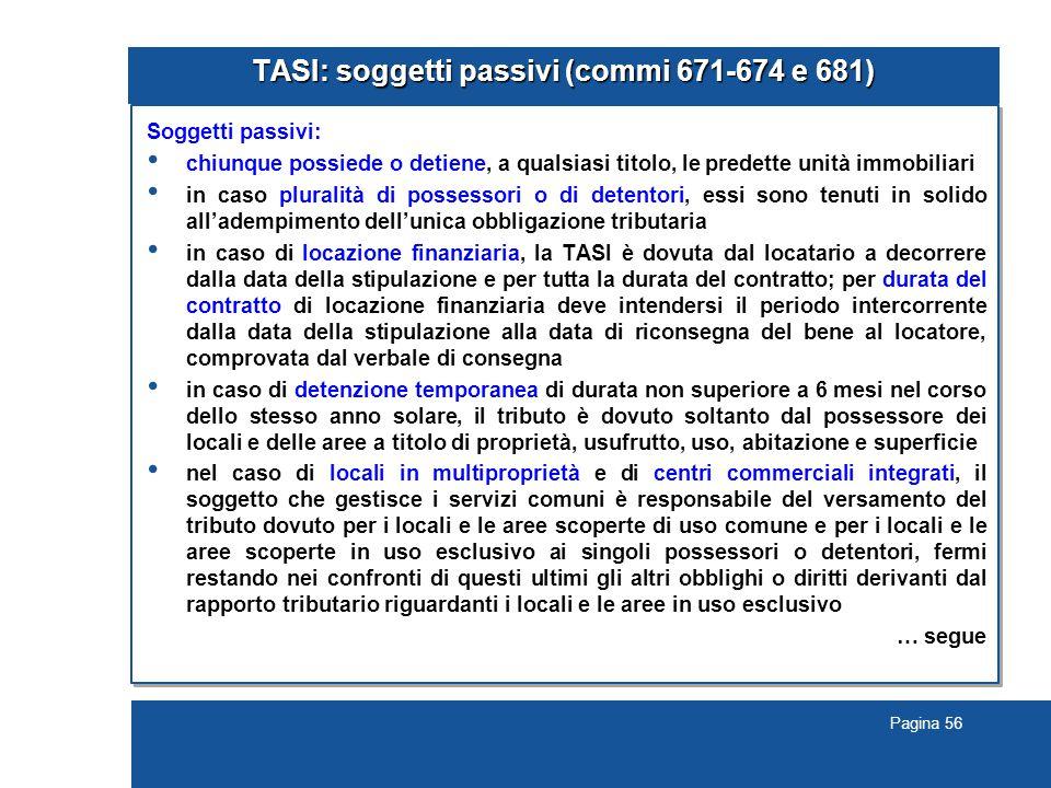 TASI: soggetti passivi (commi 671-674 e 681)