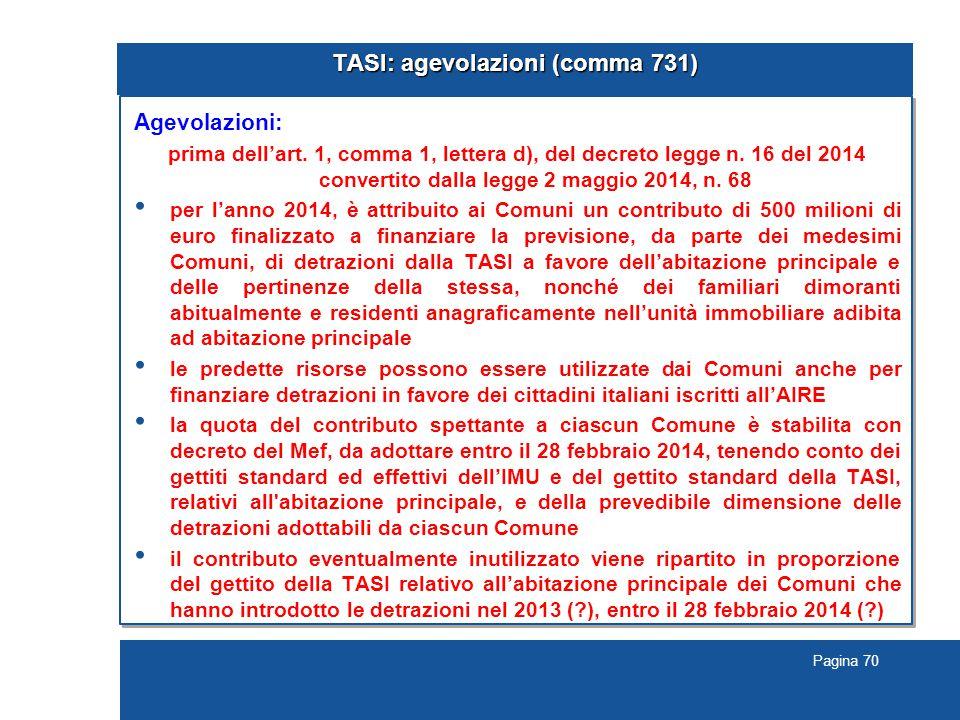TASI: agevolazioni (comma 731)