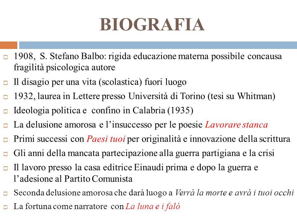 BIOGRAFIA 1908, S. Stefano Balbo: rigida educazione materna possibile concausa fragilità psicologica autore.