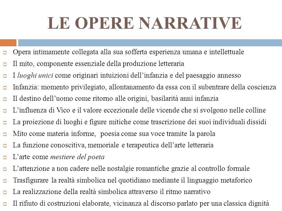 LE OPERE NARRATIVE Opera intimamente collegata alla sua sofferta esperienza umana e intellettuale.