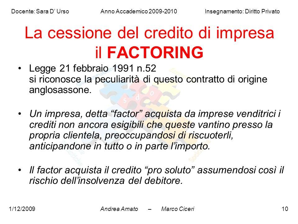 La cessione del credito di impresa il FACTORING