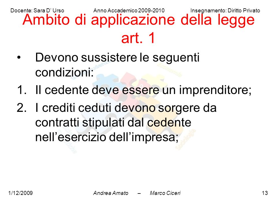Ambito di applicazione della legge art. 1