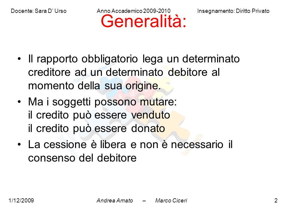 Generalità: Il rapporto obbligatorio lega un determinato creditore ad un determinato debitore al momento della sua origine.