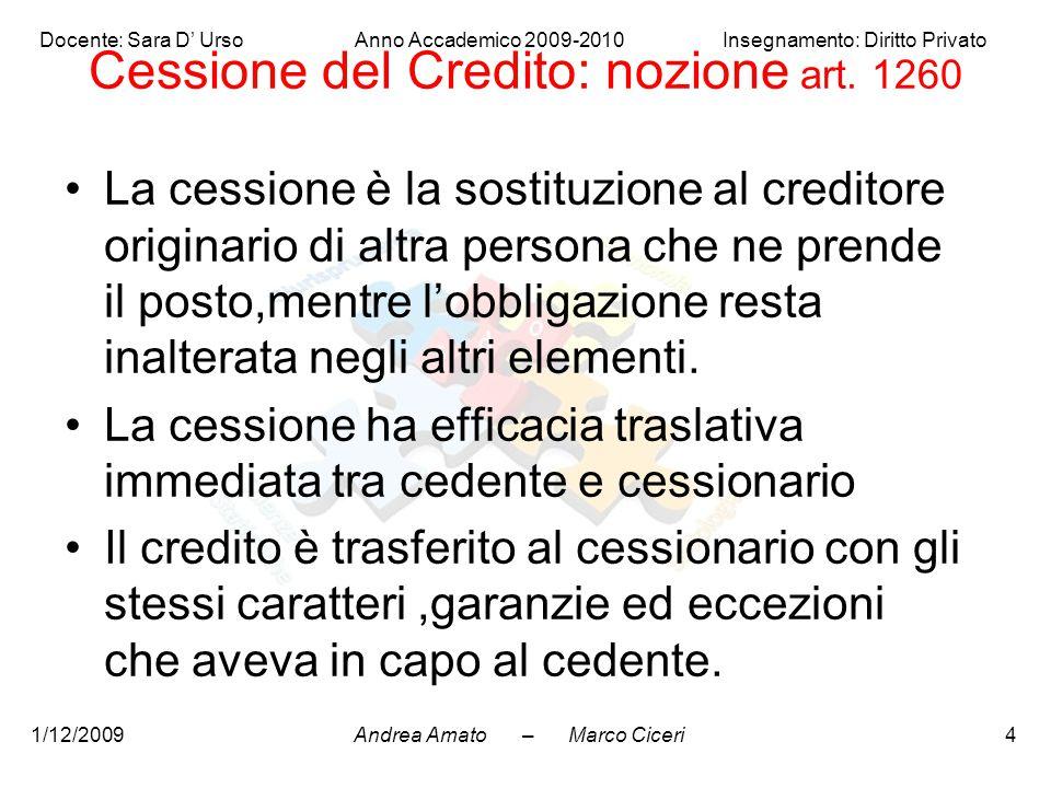 Cessione del Credito: nozione art. 1260