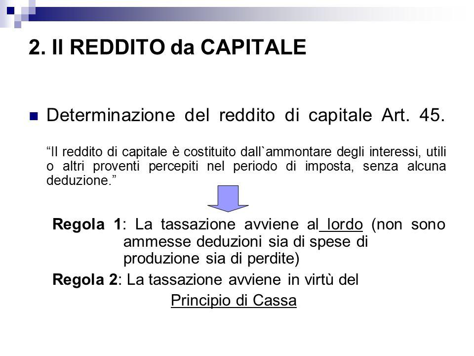 2. Il REDDITO da CAPITALE