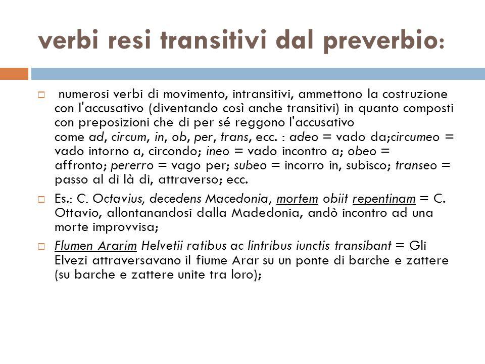 verbi resi transitivi dal preverbio: