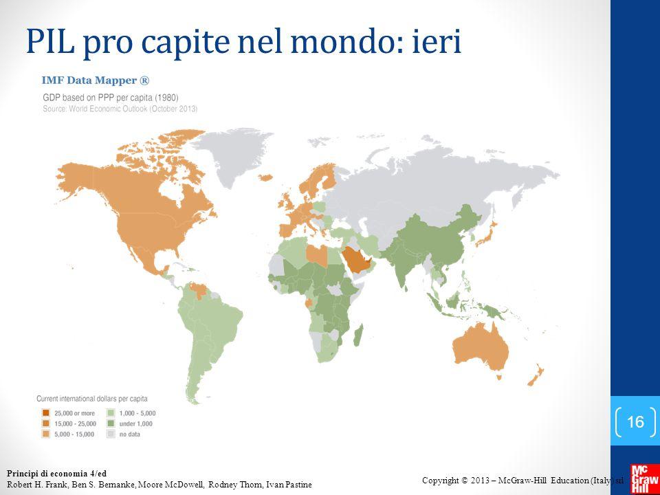 PIL pro capite nel mondo: ieri