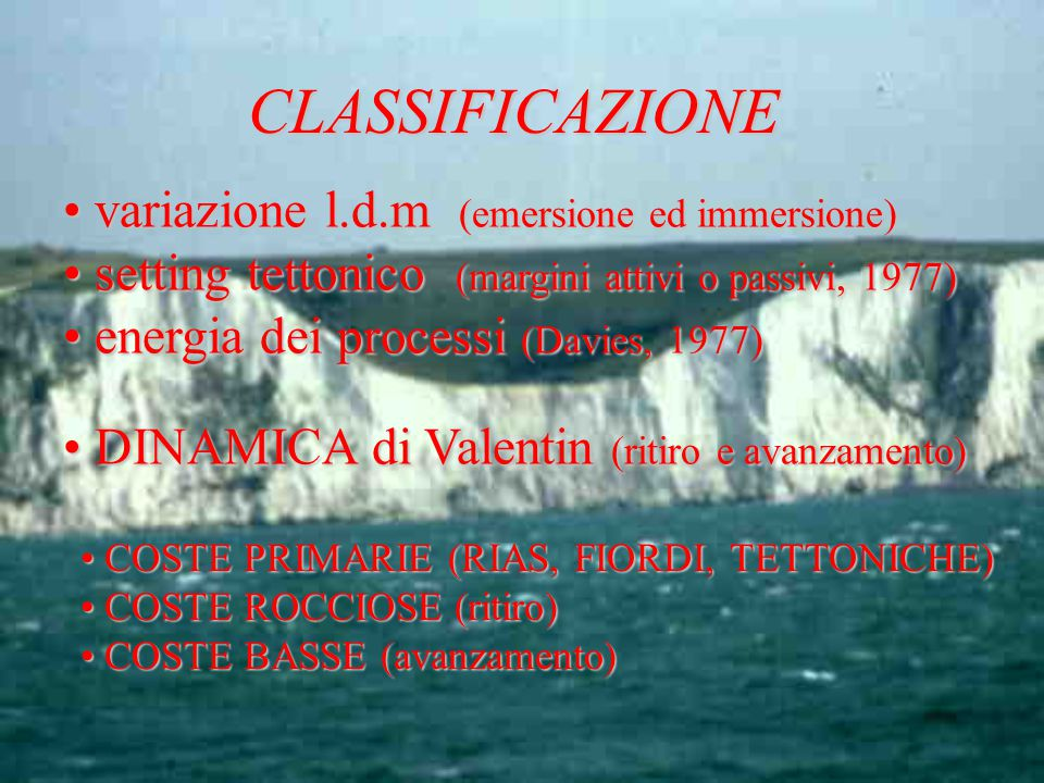 CLASSIFICAZIONE variazione l.d.m (emersione ed immersione)