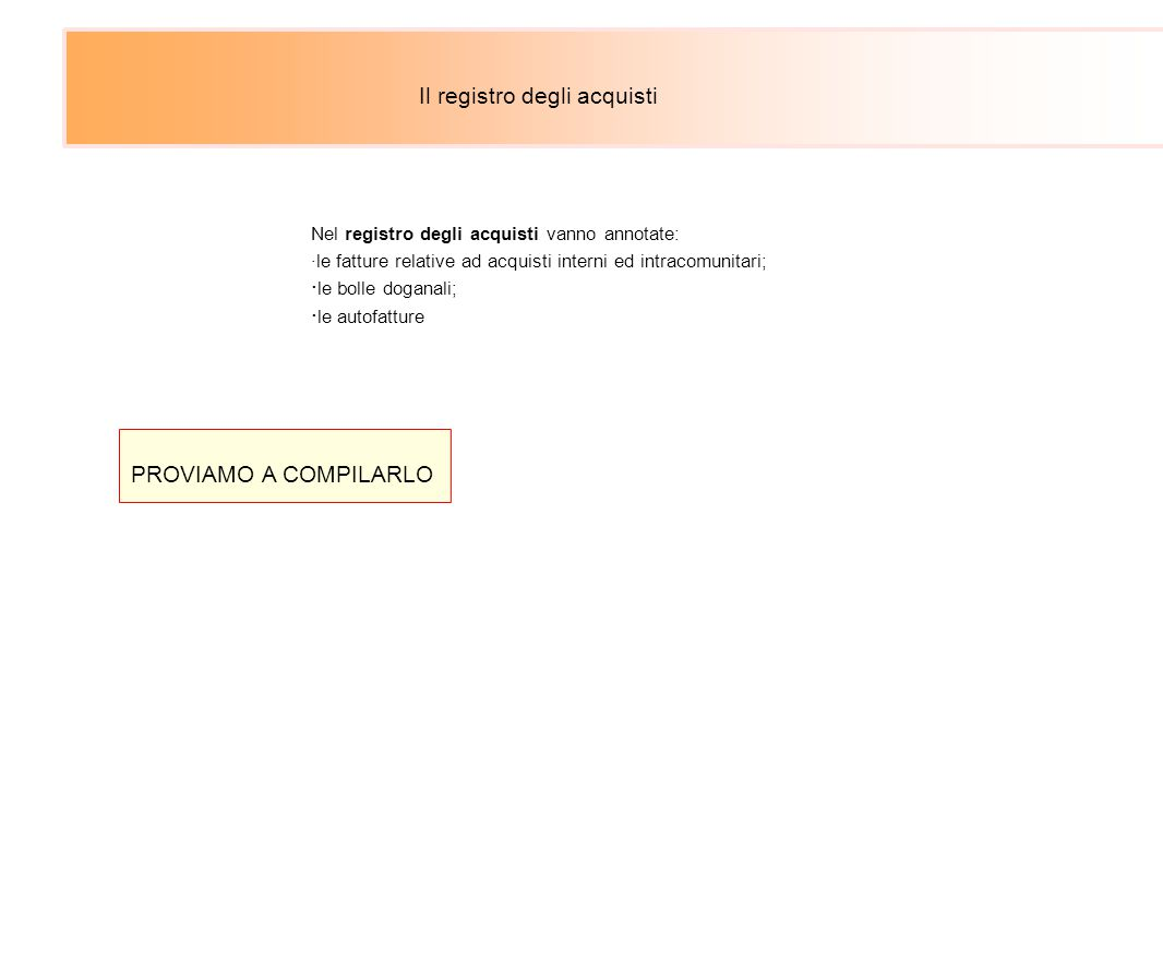 Il registro degli acquisti