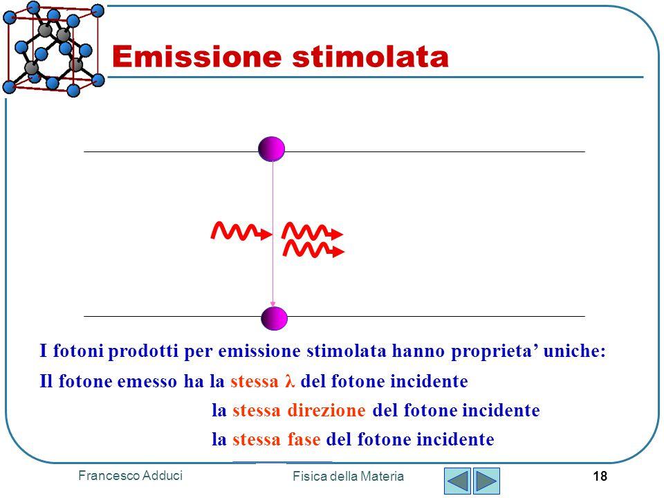 Emissione stimolata I fotoni prodotti per emissione stimolata hanno proprieta' uniche: Il fotone emesso ha la stessa λ del fotone incidente.