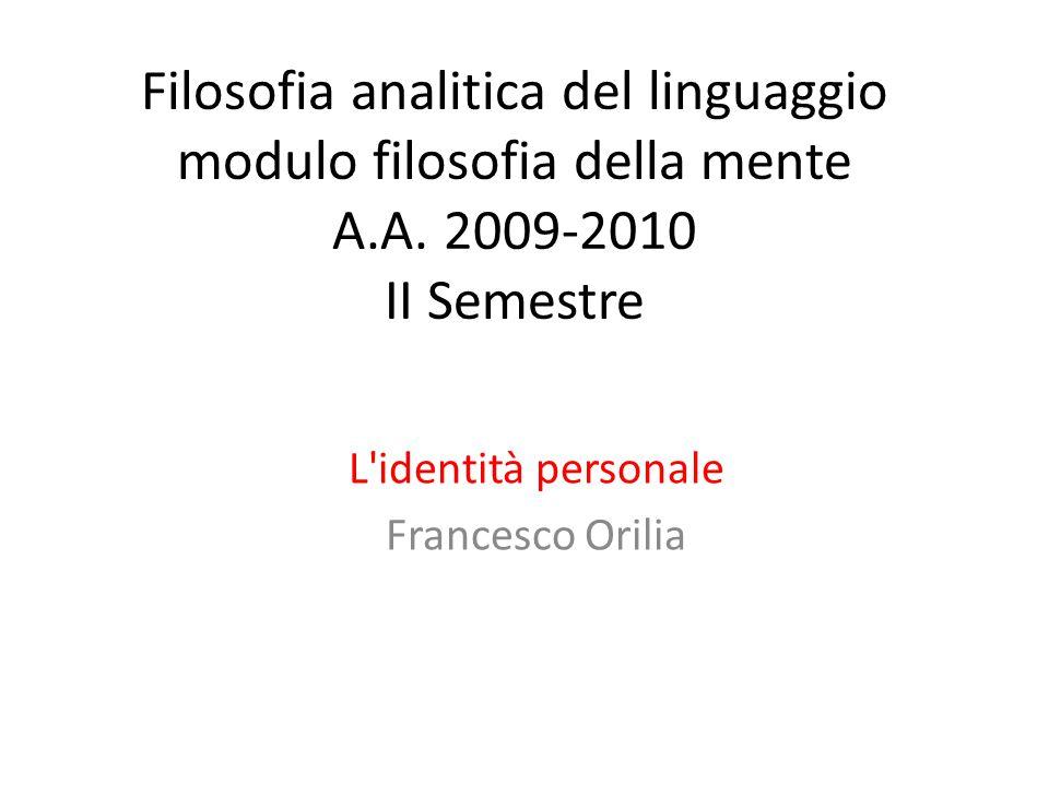 L identità personale Francesco Orilia