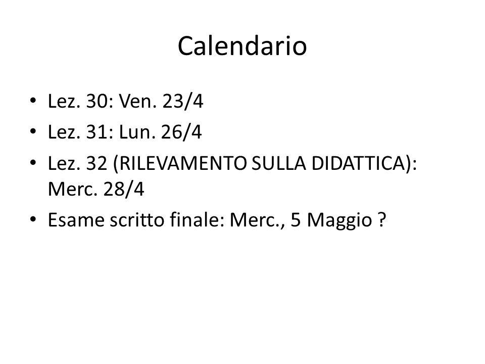 Calendario Lez. 30: Ven. 23/4 Lez. 31: Lun. 26/4