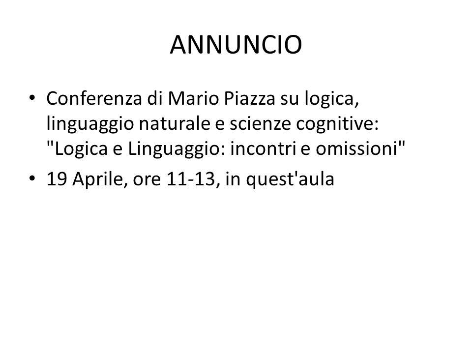 ANNUNCIO Conferenza di Mario Piazza su logica, linguaggio naturale e scienze cognitive: Logica e Linguaggio: incontri e omissioni
