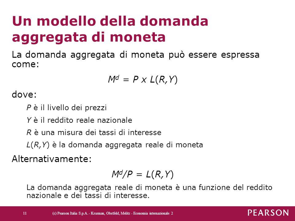 Un modello della domanda aggregata di moneta