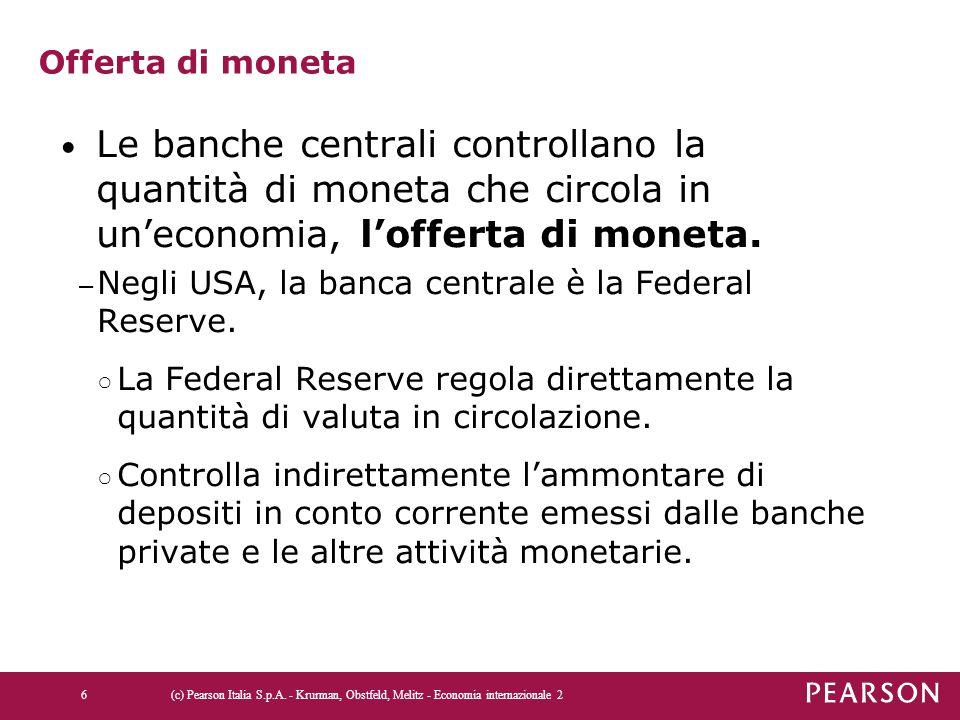 Offerta di moneta Le banche centrali controllano la quantità di moneta che circola in un'economia, l'offerta di moneta.