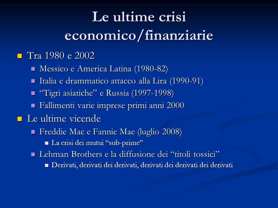 Le ultime crisi economico/finanziarie
