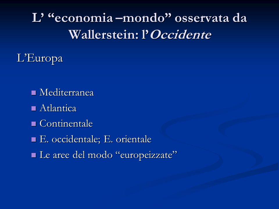 L' economia –mondo osservata da Wallerstein: l'Occidente