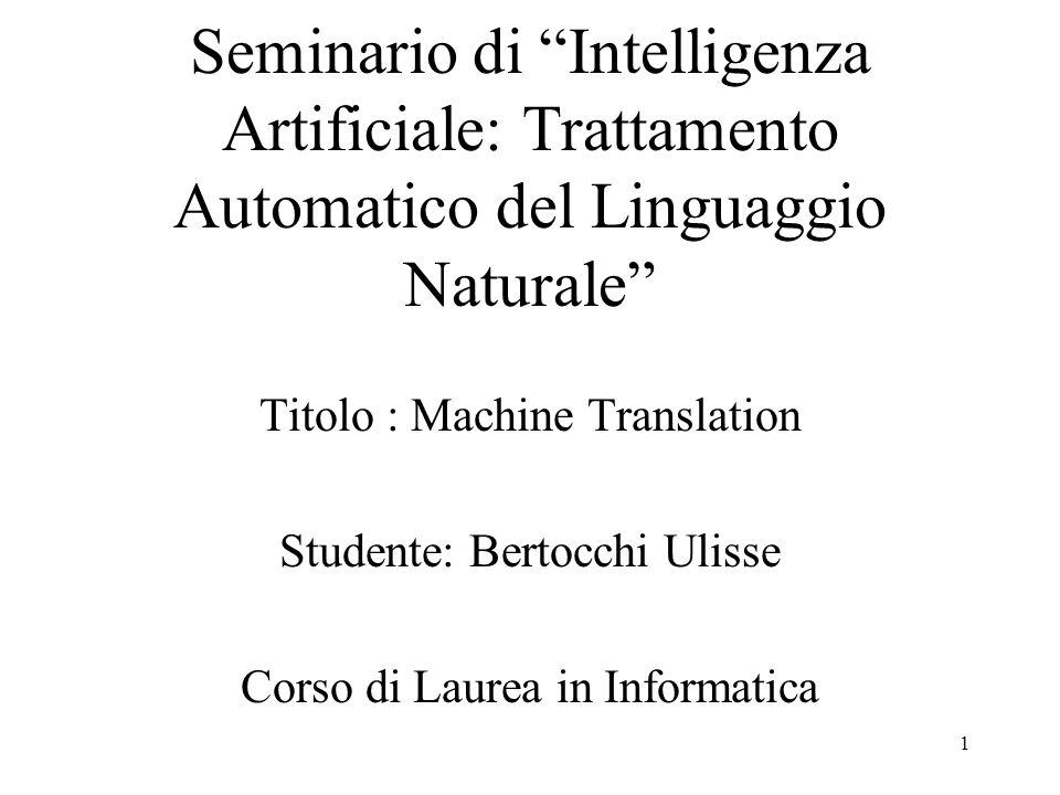 Seminario di Intelligenza Artificiale: Trattamento Automatico del Linguaggio Naturale