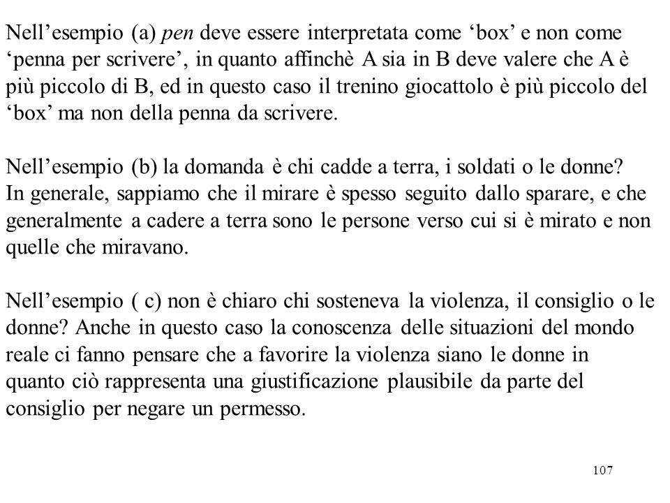 Nell'esempio (a) pen deve essere interpretata come 'box' e non come