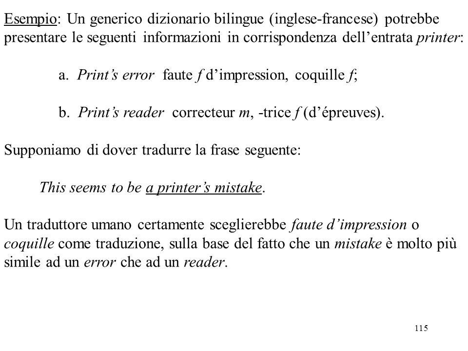 Esempio: Un generico dizionario bilingue (inglese-francese) potrebbe