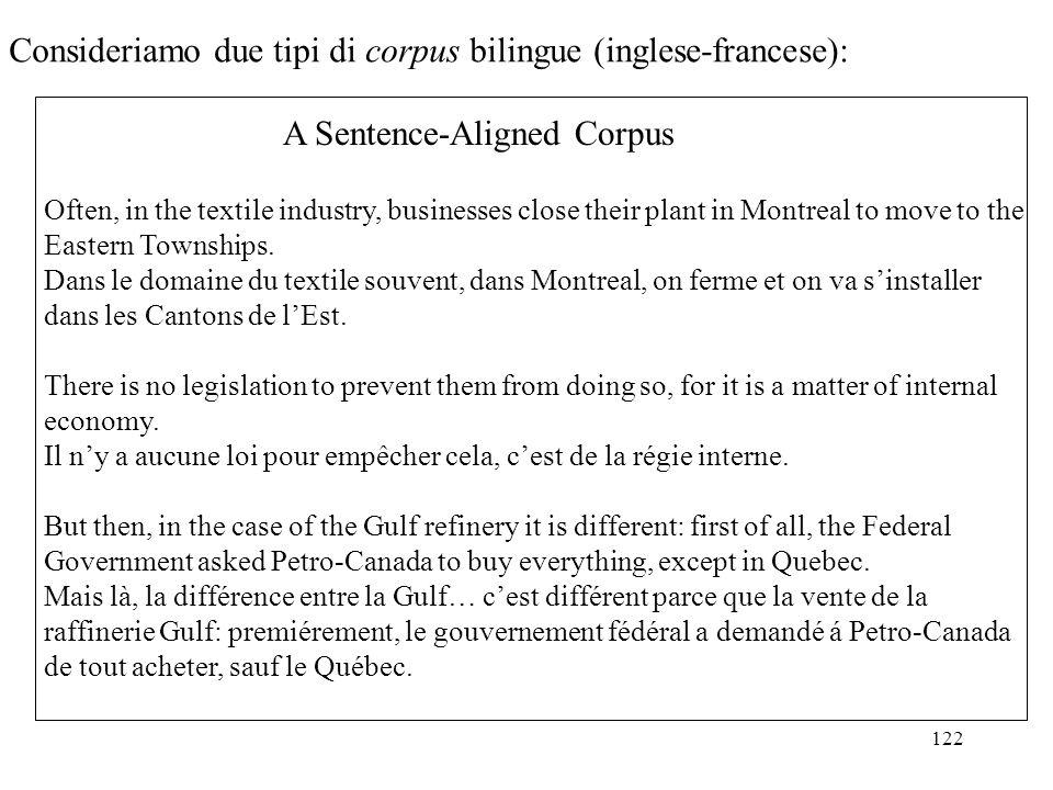 Consideriamo due tipi di corpus bilingue (inglese-francese):
