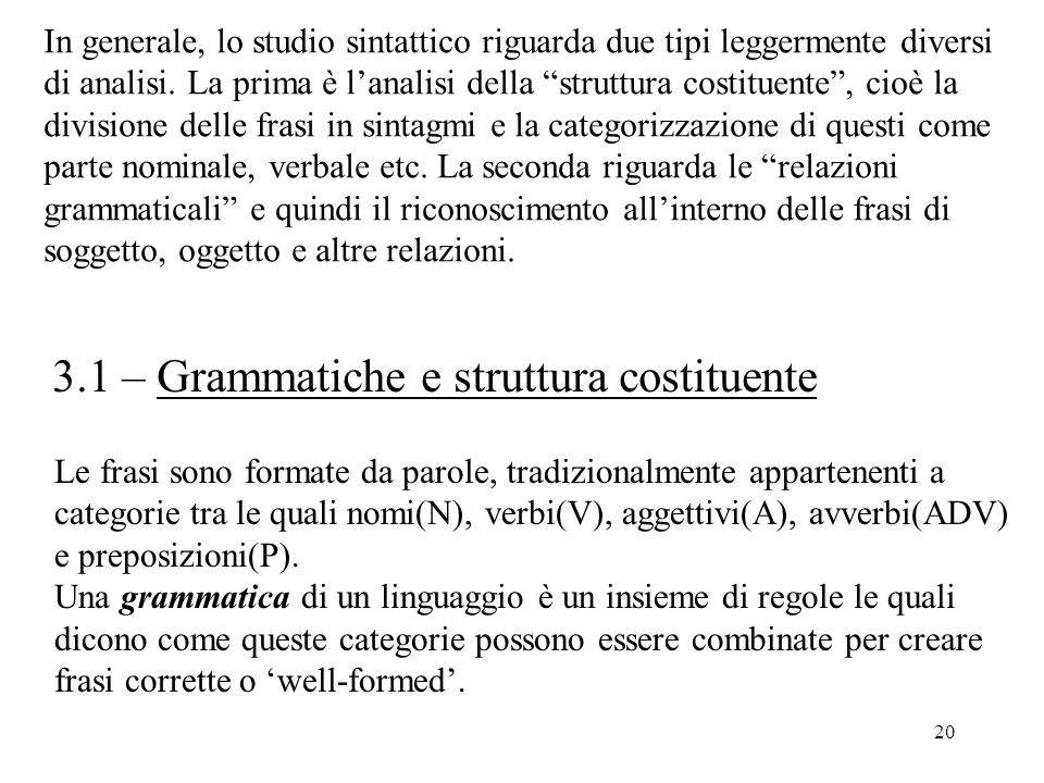 3.1 – Grammatiche e struttura costituente