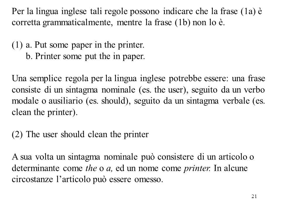 Per la lingua inglese tali regole possono indicare che la frase (1a) è