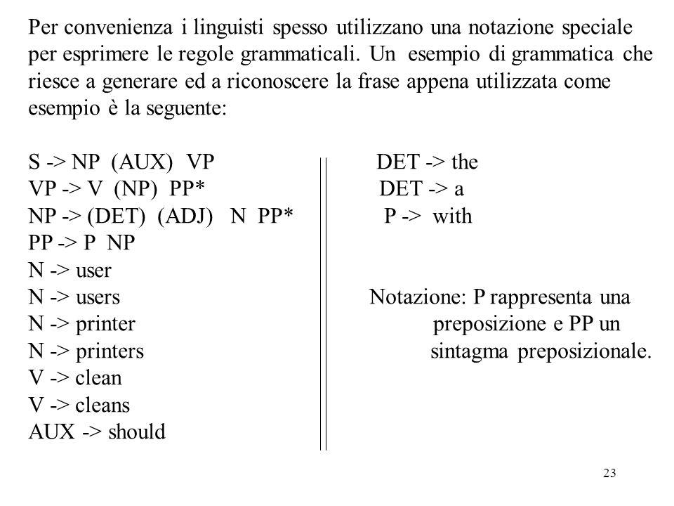 Per convenienza i linguisti spesso utilizzano una notazione speciale