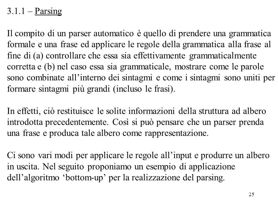 3.1.1 – Parsing Il compito di un parser automatico è quello di prendere una grammatica.