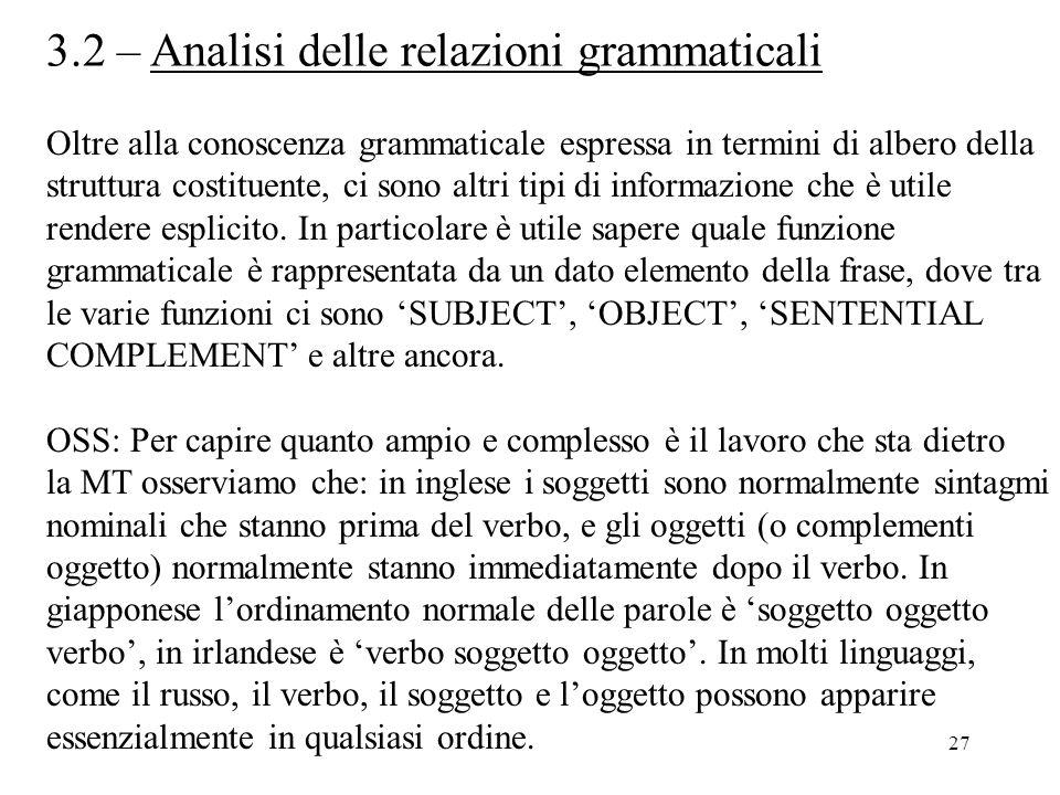 3.2 – Analisi delle relazioni grammaticali
