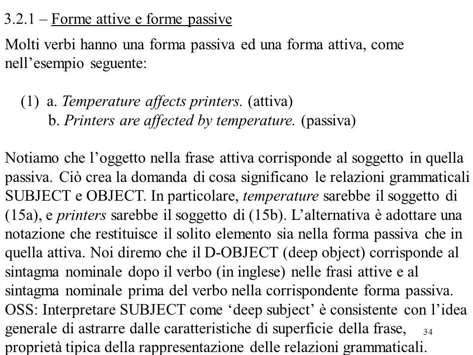 3.2.1 – Forme attive e forme passive