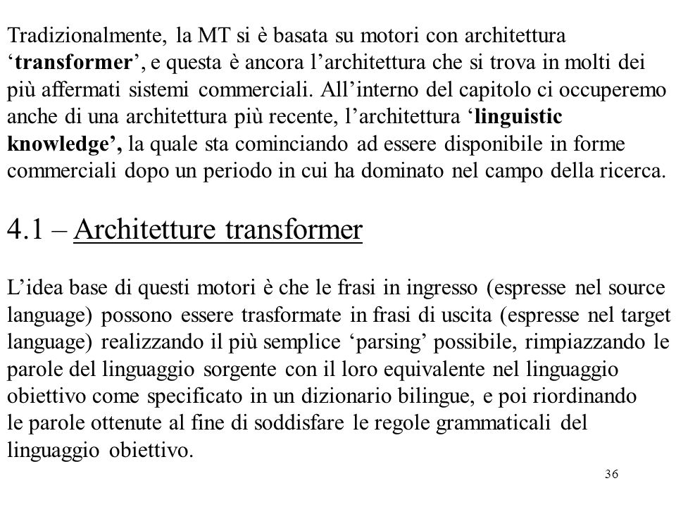 4.1 – Architetture transformer