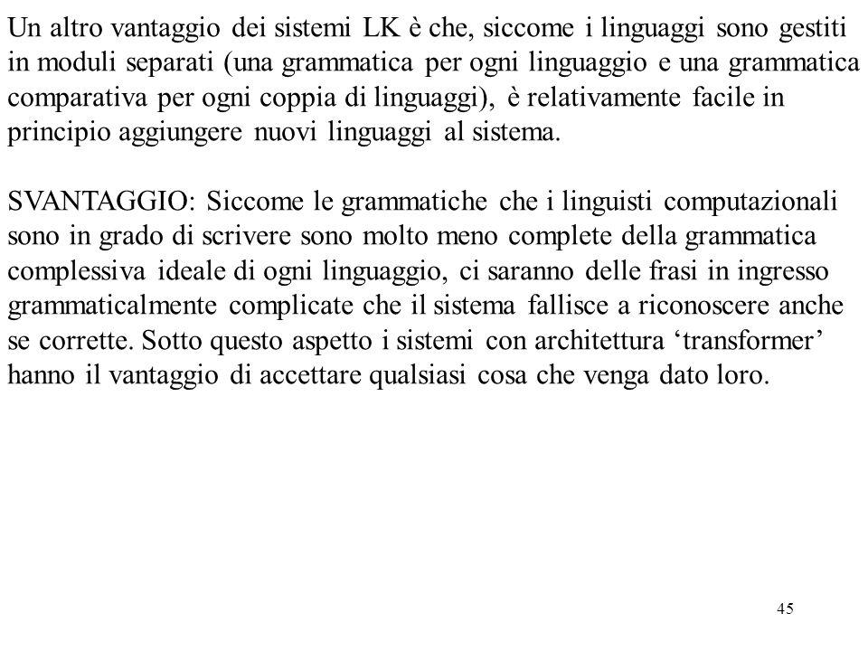 Un altro vantaggio dei sistemi LK è che, siccome i linguaggi sono gestiti