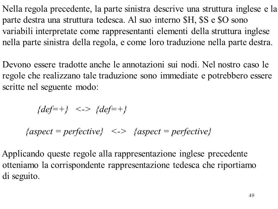 Nella regola precedente, la parte sinistra descrive una struttura inglese e la