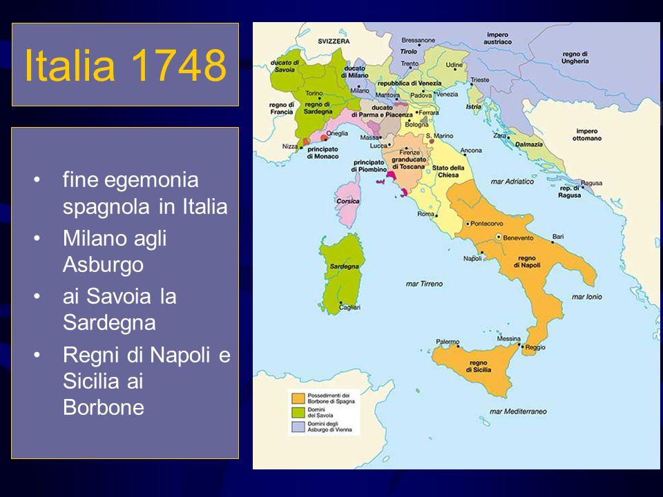 Italia 1748 fine egemonia spagnola in Italia Milano agli Asburgo