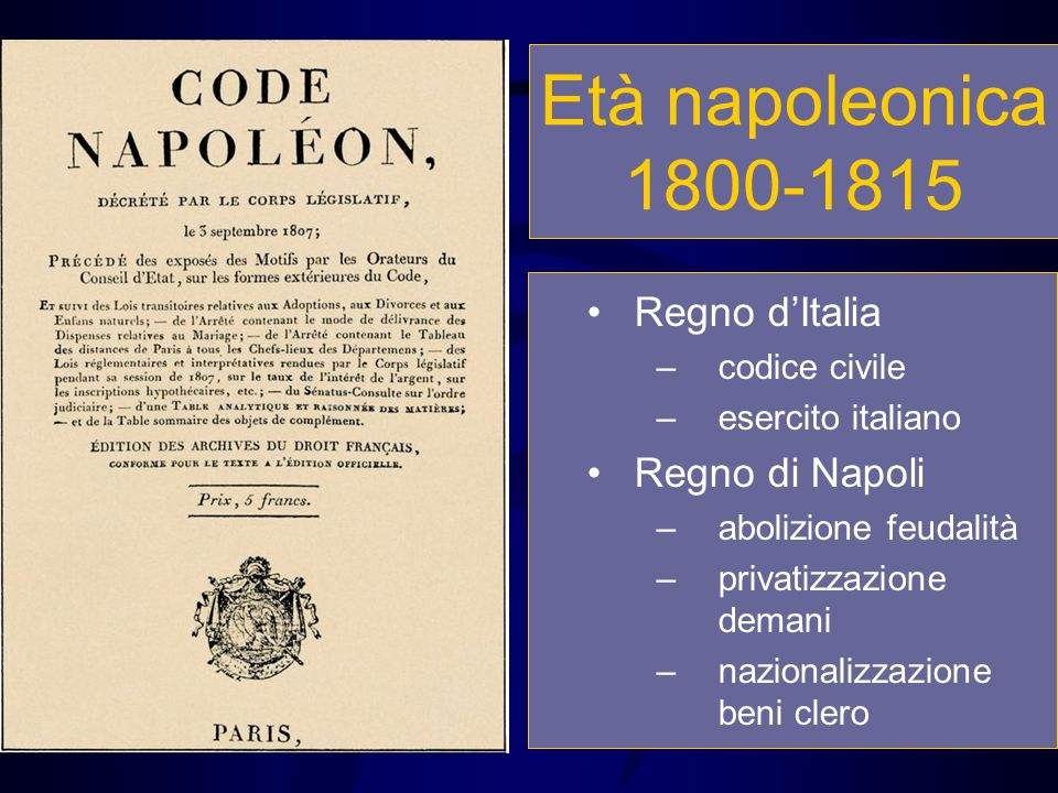 Età napoleonica 1800-1815 Regno d'Italia Regno di Napoli codice civile