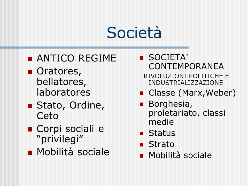Società ANTICO REGIME Oratores, bellatores, laboratores