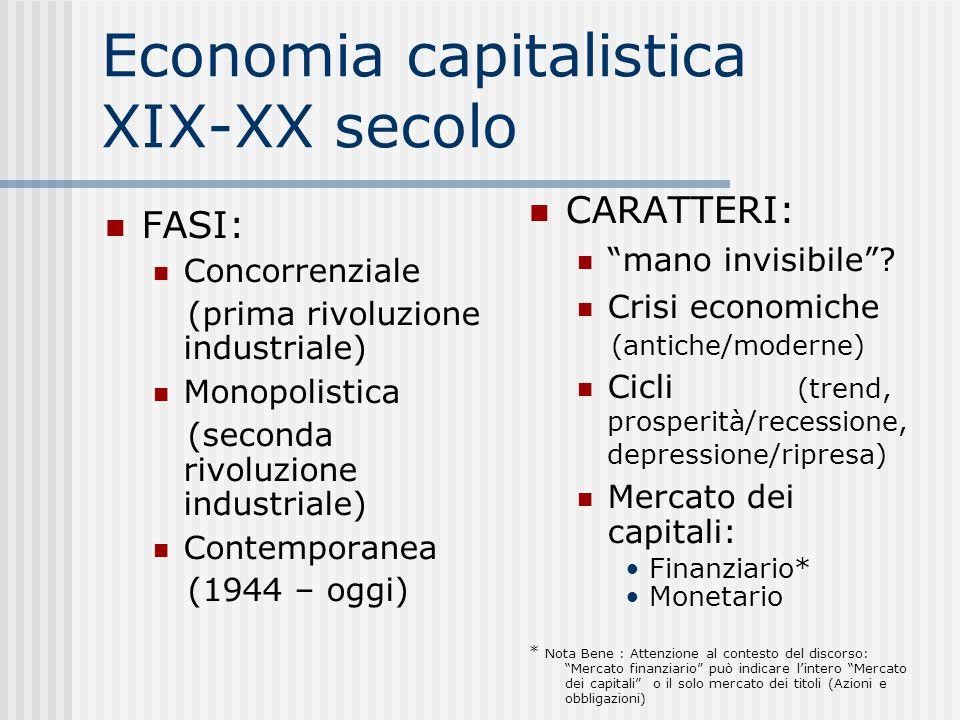 Economia capitalistica XIX-XX secolo