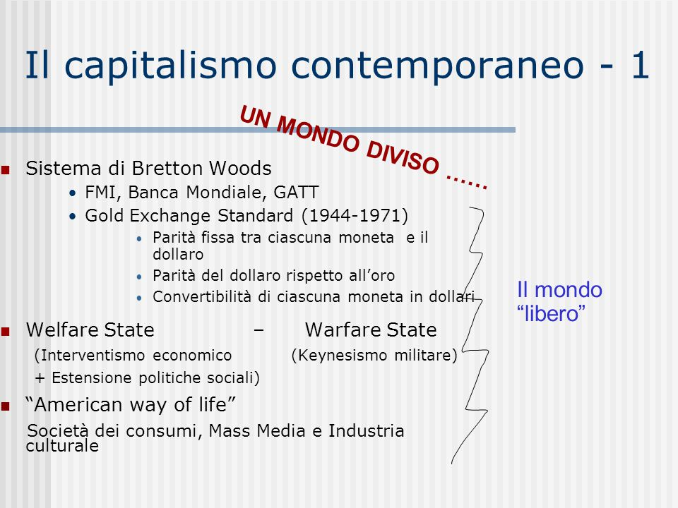 Il capitalismo contemporaneo - 1