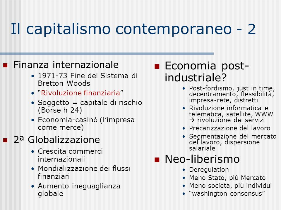 Il capitalismo contemporaneo - 2