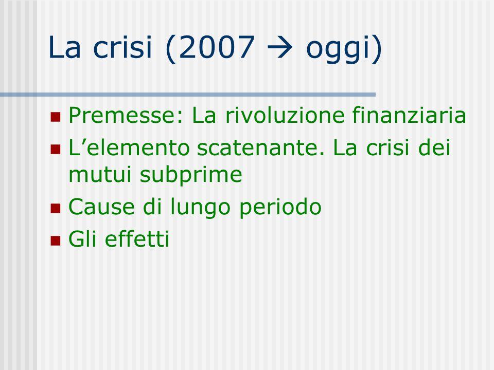 La crisi (2007  oggi) Premesse: La rivoluzione finanziaria