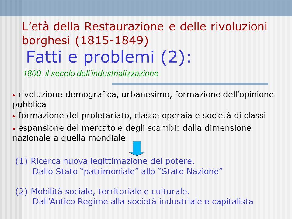 L'età della Restaurazione e delle rivoluzioni borghesi (1815-1849) Fatti e problemi (2):