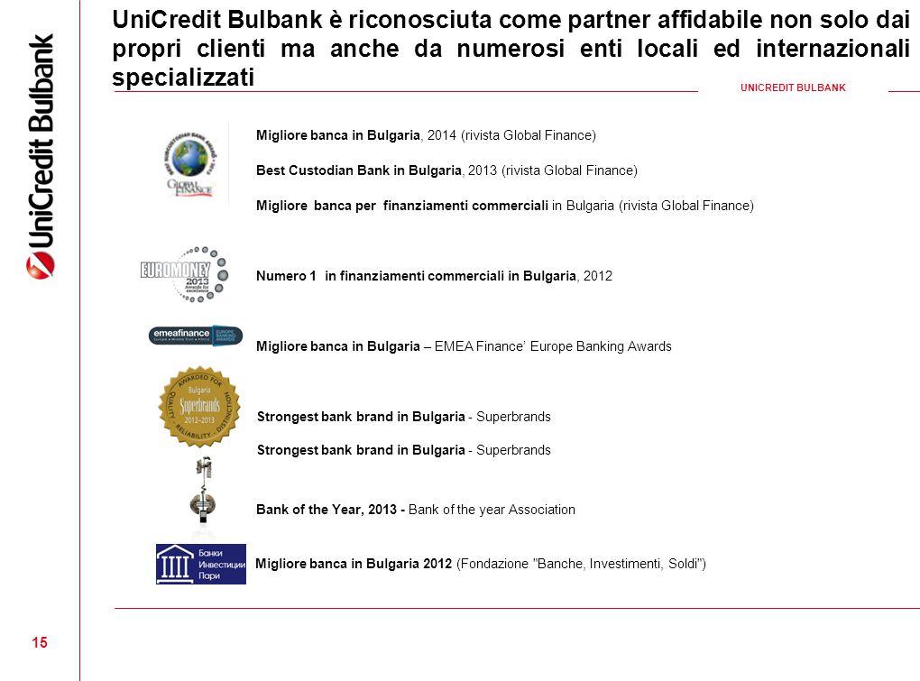 UniCredit Bulbank è riconosciuta come partner affidabile non solo dai propri clienti ma anche da numerosi enti locali ed internazionali specializzati