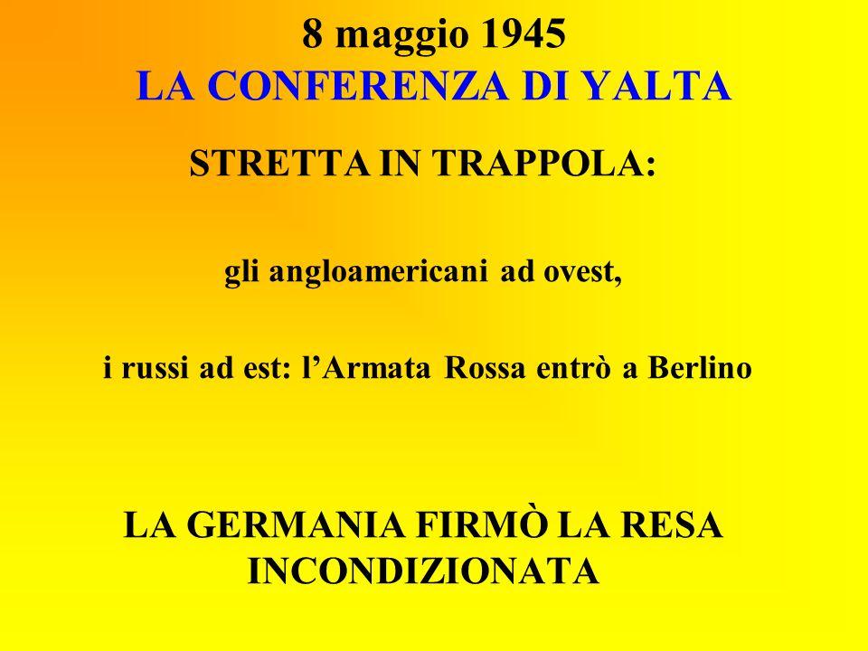 8 maggio 1945 LA CONFERENZA DI YALTA